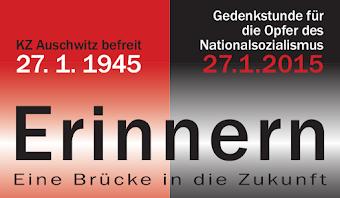 Flugblattkopf: »KZ Auschwitz befreit 27.1.1945 - Gedenkstunde für die Opfer des Nationalsozialismus 27.1.2015 Erinnern. Eine Brücke in die Zukunft«.