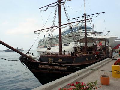 Old Pirate Ship vs. Modern Cruise Ship