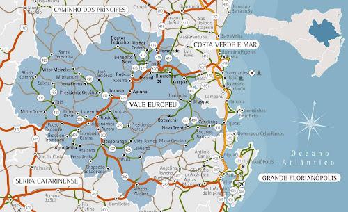 Mapa da região do Vale Europeu - Santa Catarina