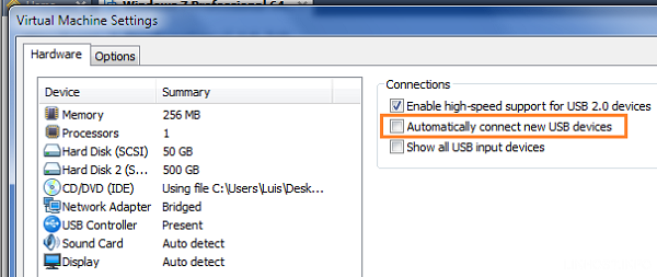 connect usb drive to vmware machine