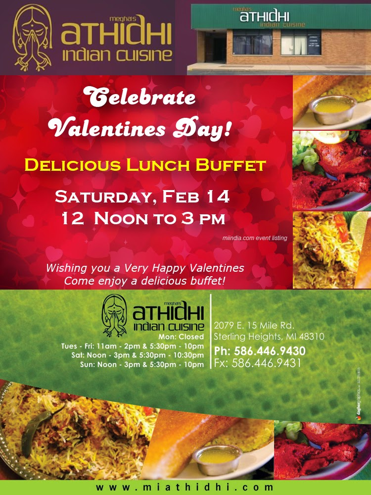 Valentines day special buffet athidhi indian cuisine for Athidhi indian cuisine sterling heights