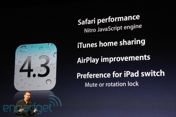 Apple: iOS 4.3 To Release On March 11 With New AirPlay Features And Faster Safari Browsing