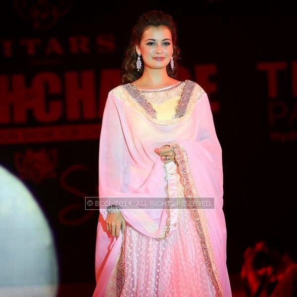 Dia Mirza walks the ramp at Teach for Change, a charity fashion show powered by LivLife Hospitals, in Hyderabad.