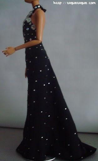 Barbie OOAK designs by Taque-Taque: clon del diseño de Philipp Plein, vista lateral del vestido