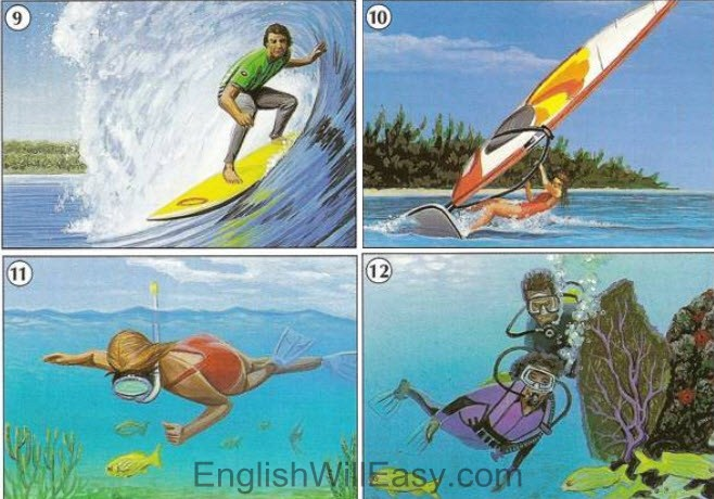 Winter Sports, Water Sports – Picture Dictionary
