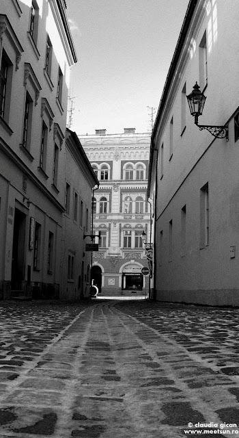 stradute pustii, Pilsen, fotografie alb-negru