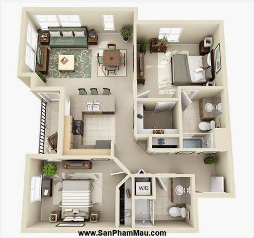 Phương án thiết kế mặt bằng có 2 phòng ngủ đẹp - Tủ âm tường-8