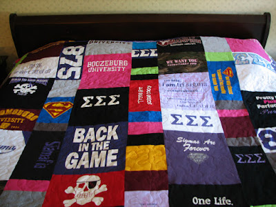 "Finished full size sorority quilt in the modern style. It measures 85"" by 95"""