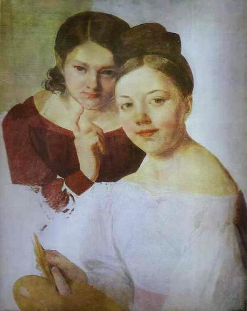 Alexei Venetsianov - Portrait of Artist's Daughters Alexandra and Felisata