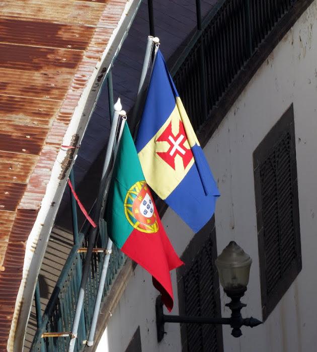 Portugal flag and Madeira flag