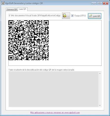 Leer y decodificar código QR de imagen con AjpdSoft Generador y Lector códigos QR