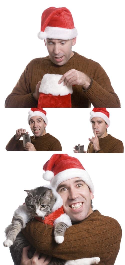 Stock Photo: The man in Santas red cap