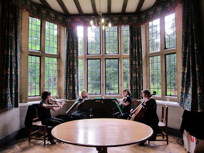 String quartet playing at Rhodes House at a wedding in Oxford
