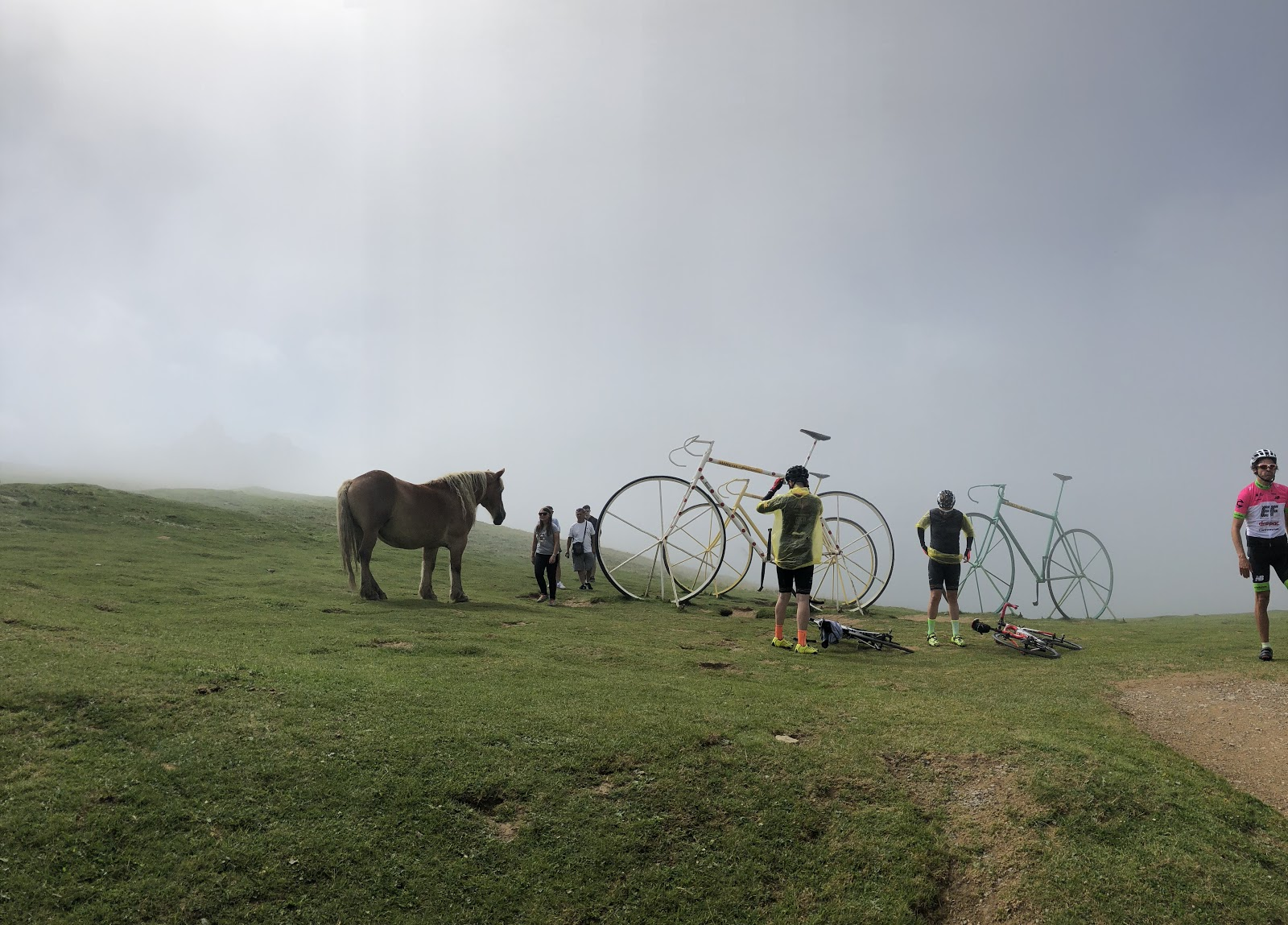 Bike ride Col d'Aubisque from Ferrières - giant bikes, horses and cyclists at top of col