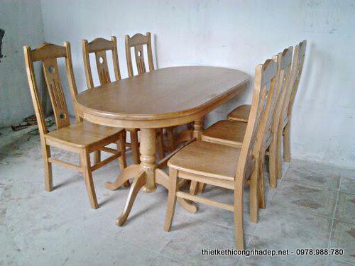 Bộ bàn ăn gỗ dổi kiểu dáng bán cổ điển