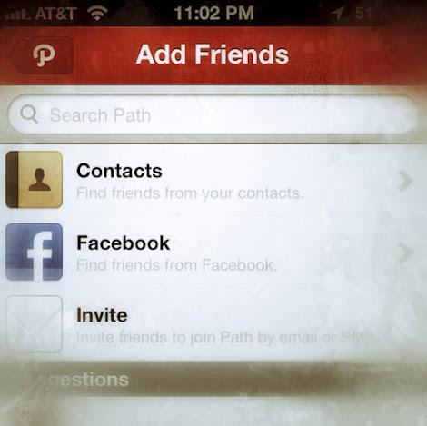Adding friends in Path