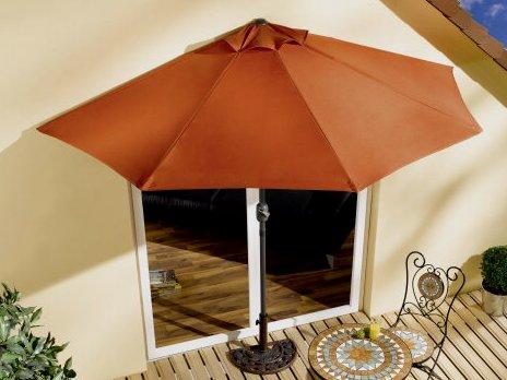 sonnenschirm halbrund terra rot balkon terasse. Black Bedroom Furniture Sets. Home Design Ideas