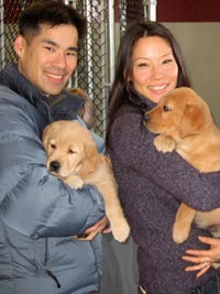 Lucy Liu and puppies