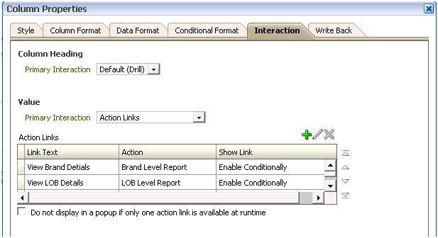 Conditional Action links