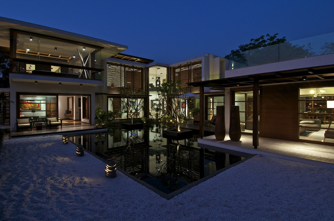The Courtyard House design by Hiren Patel Architects