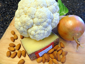 Ingredients for a recipe of Cauliflower with Manchego and Almond Sauce