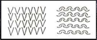 Forma del tejido de punto por trama