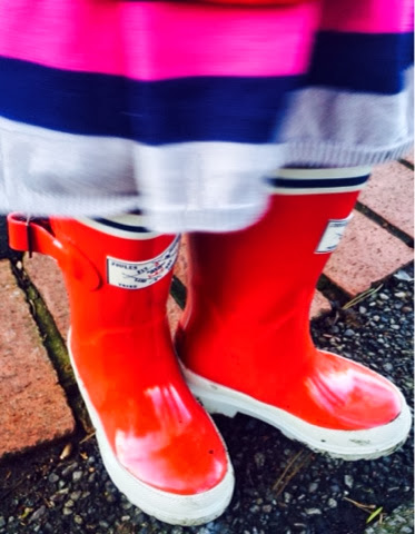 Blake and Maegan Clement in Joules Wellies red seafarer and tractor wellies