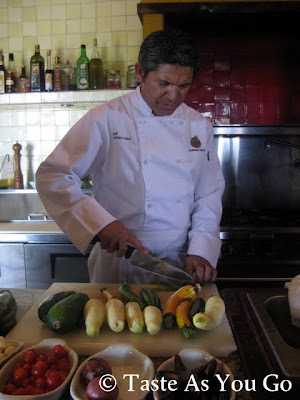Prepping the Vegetables for the Zucchini Colash at Los Tamarindos in Los Cabos, Mexico - Photo by Taste As You Go