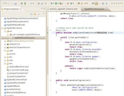 Añadir código Java para cada elemento de menú en aplicación Android