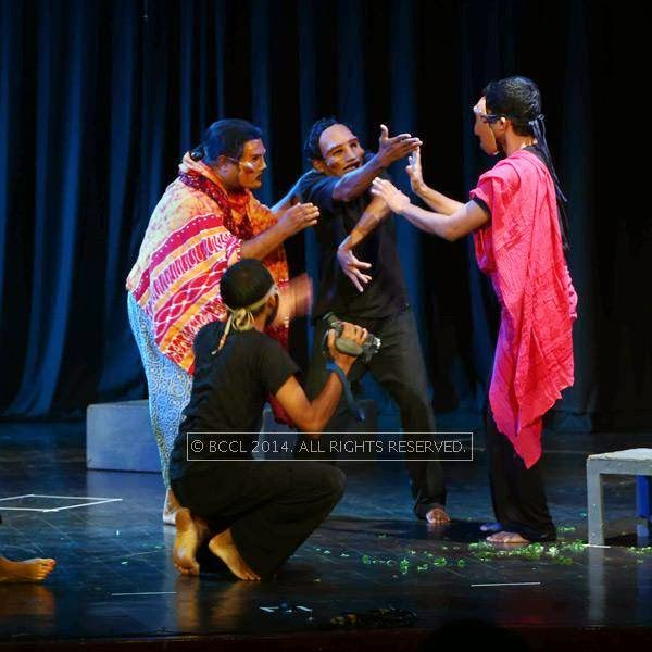 A scene from the play Vishwa Vikhyathamaya Mooku staged at JTPAC in Kochi.