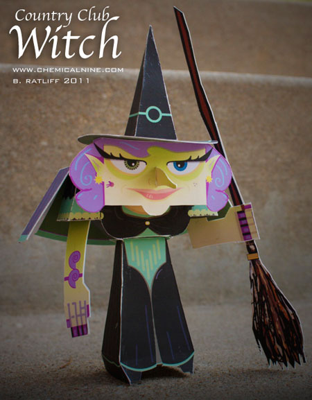 Country Club Witch Paper Toy