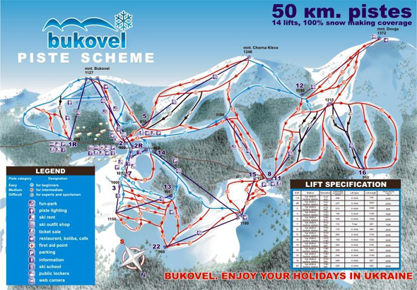 Bukovel ski map