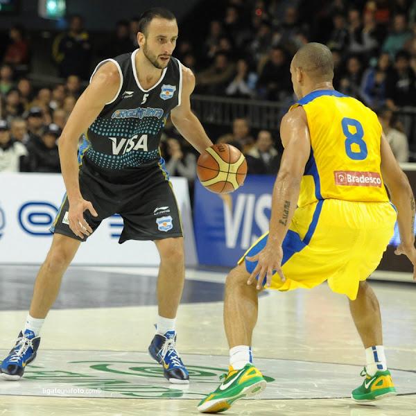 Wearing Brons Manu Ginobili8217s Nike LeBron 9 iD 8220Argentina8221
