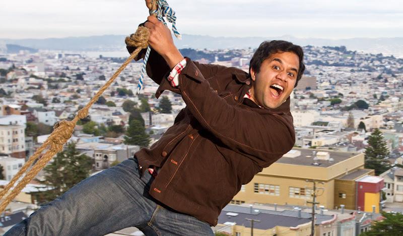 Brown Moleskin Jacket: Omi on rope swing