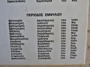 Namenstafel für die von der griechischen Reaktion ermordeten Widerstandskämpfer.