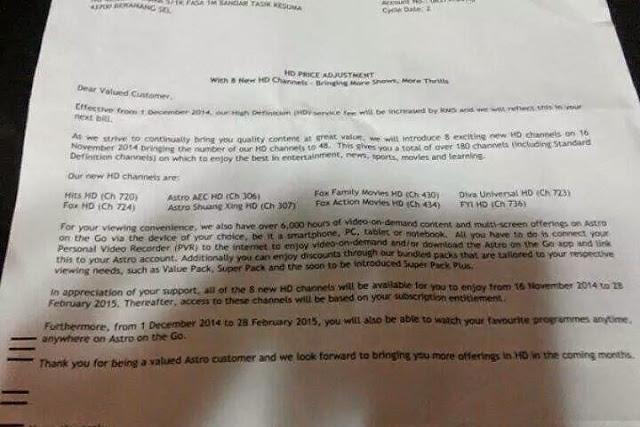 Bil Astro Akan Naik Lagi RM 5?