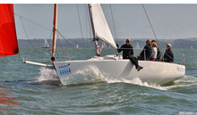 J/80 one-design sailboat- women sailing on Solent, England