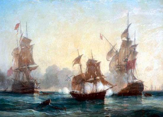 Бой брига Меркурий с двумя турецкими кораблями 14 мая 1826 г.
