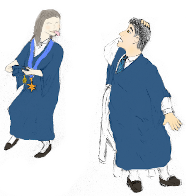 Image: Frank (the human) sits in a plastic chair wearing a tie and a graduation toga, feels the top of his head and looks to his right, startled. In the background –tiptoeing away– is Sis, also wearing a graduation toga and a medal in the shape of a concave eight-point-star. She has just slipped off Frank's mortarboard hat and is sticking her tongue out at him.