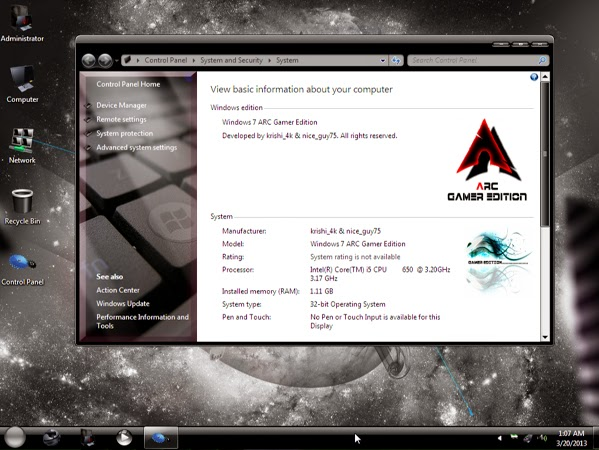 نسخه ويندوز Windows 7 ARC Gamer Edition X86 Now 1.70 Gb
