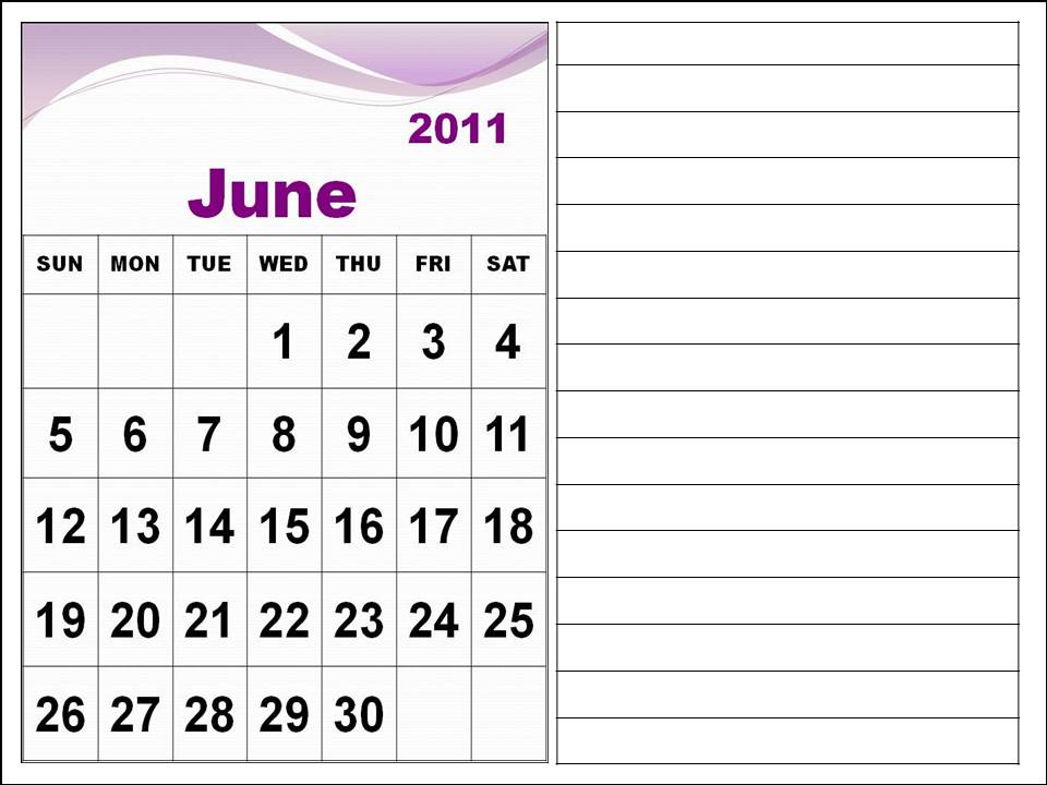 monthly calendar 2011. Monthly Calendar 2011 June
