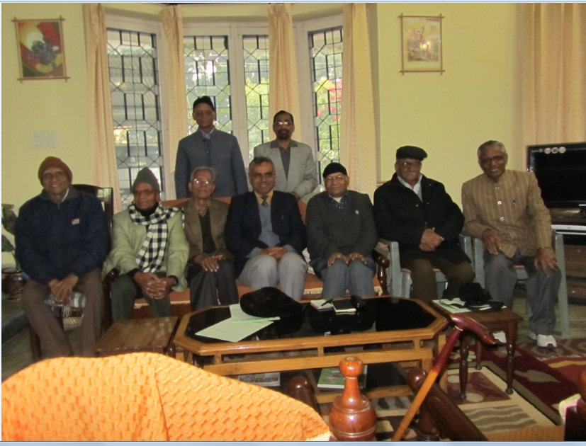 Photo 1 (Males First Row sitting: L To R : Sarvsri Pramod Kulshrestha, Mahesh Bahadur, G N Kulshrestha, Dr S K Sheel, Col (Retd) Virendra Sahai Verma (President Kulshrestha Kalyan Samiti), Om Nidhi, S K Kulshrestha