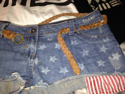 New Look American Flag Print Shorts with Primark Belt