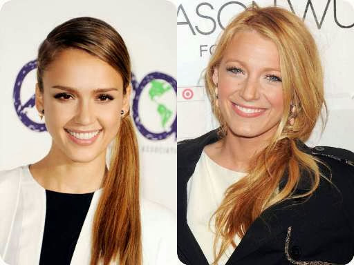 Hollywood Hairstyles - Jesscia Alba And Blake Lively With A Low Ponytail Hairstyle