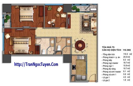 Bán chung cư Times City T5 T6 T7 căn 110.3m2