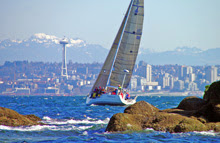 J/109 cruiser-racer sailboat- sailing off Seattle/ Vancouver