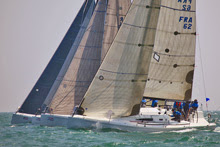 J/111 one-design sailboats- sailing to windward