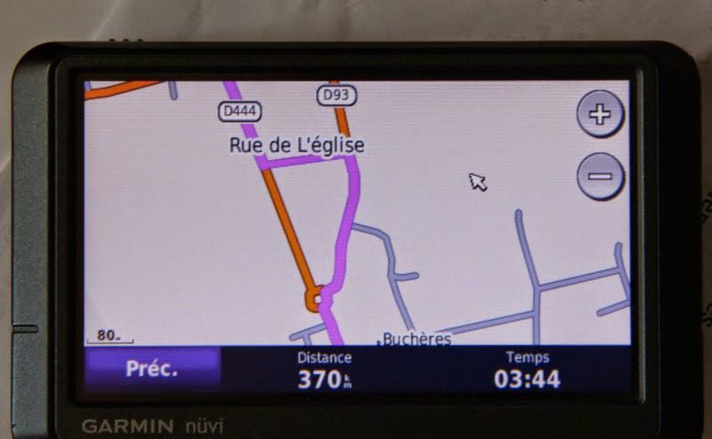 Ecran GPS Garmin en arrivant sur Troyes
