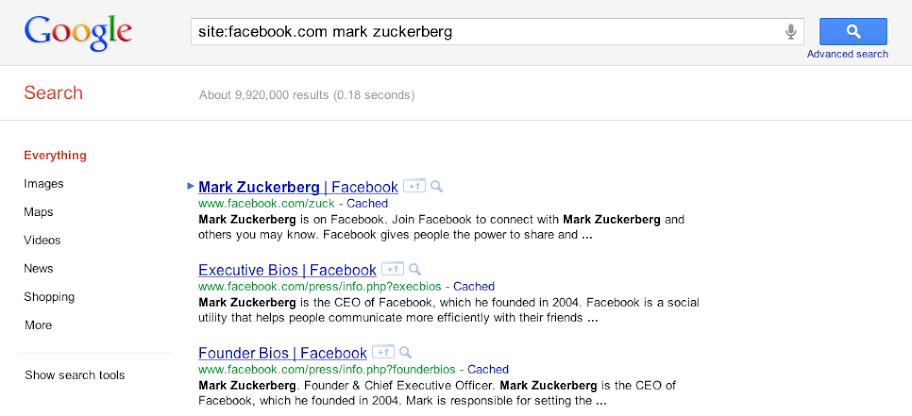 αναζήτηση στο google για τα δημόσια facebook δεδομένα μας