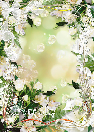 Цветочная рамка для фото – Нежно-белые цветы